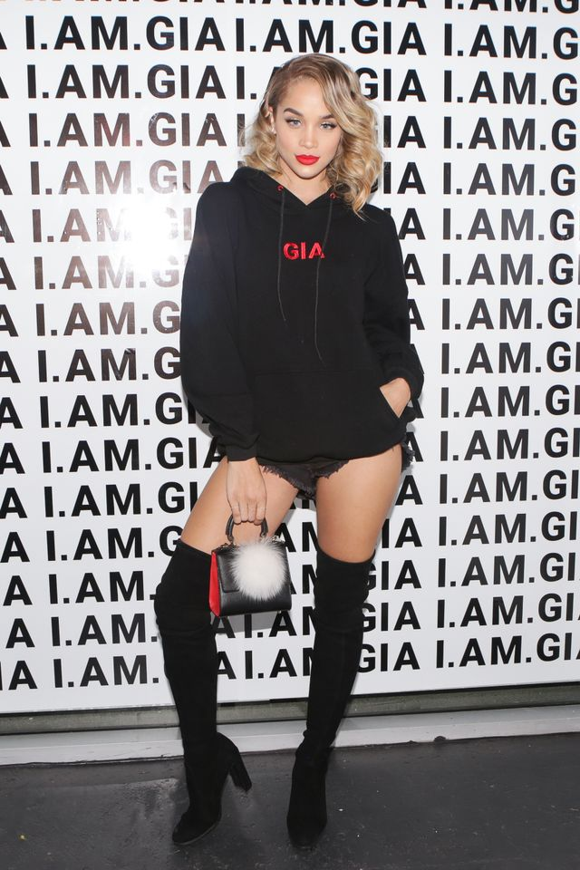 WHO: Jasmine Sanders WHAT: It-girl brand I.Am.Gia hosted a party on Friday night in Los Angeles celebrating its launch in the U.S. market. WEAR: I.Am.Gia Hoodie ($84)