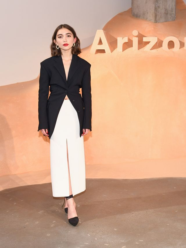 WHO: Rowan Blanchard WHAT: Proenza Schouler celebrates the launch of its first fragrance, Arizona, during New York Fashion Week. WEAR: Proenza Schouler. Alison Lou earrings.