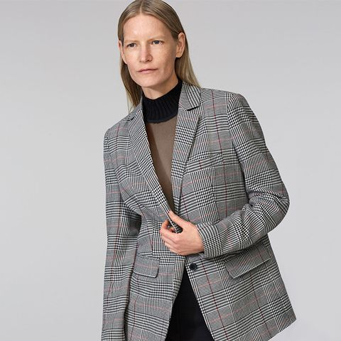 Buttoned Checked Blazer