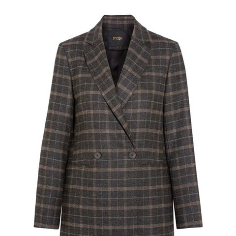 Checked Stretch-Felt Blazer