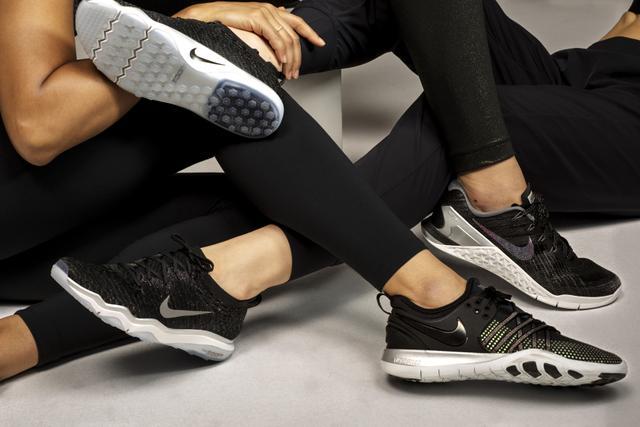 A range of the brand's new metallic sneakers.