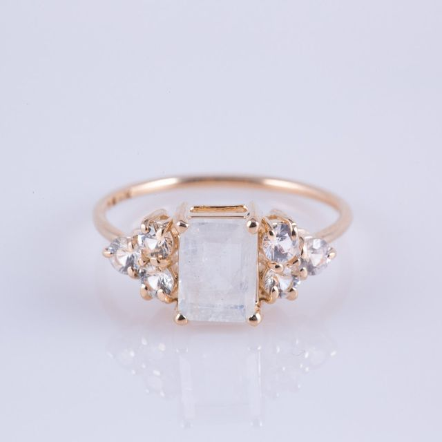 Carried Jewels Rainbow Moonstone White Sapphire Duchess Ring