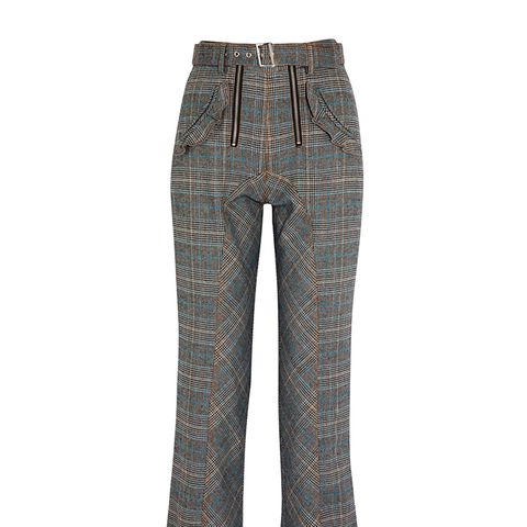 Lexi Ruffled Checked Woven Straight-Leg Pants