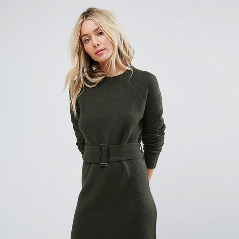 Knitted Mini Dress With Belt