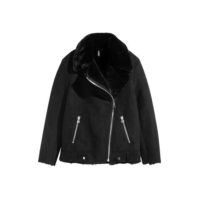 H&M Faux-Suede Biker Jacket