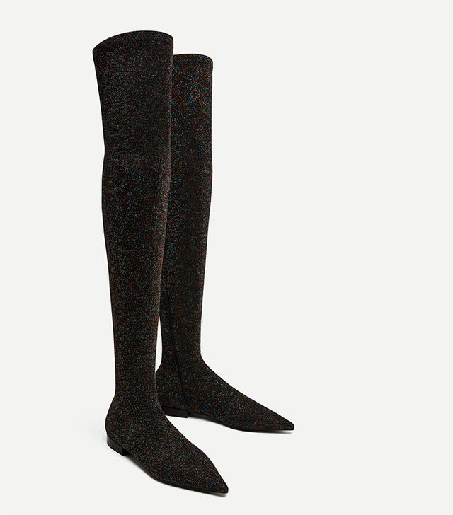 Zara Flat Multicoloured Over-the-Knee Boots
