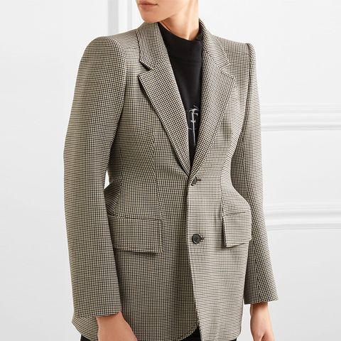 Hourglass Checked Wool-Blend Blazer