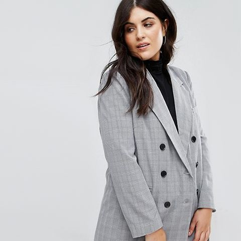 Double Breasted Blazer in Check