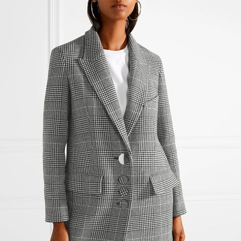 Oversized Houndstooth Wool-Blend Blazer