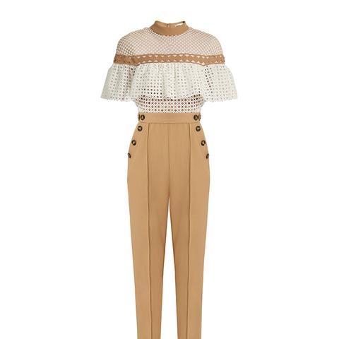 Ruffled-Yoke Guipure-Lace Jumpsuit
