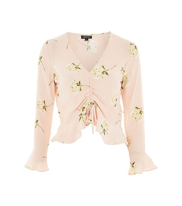 Topshop Ruched Floral Print Blouse