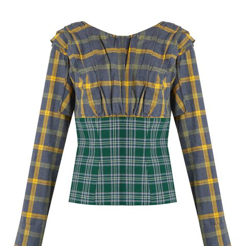 Plaid Pleated Cotton Top