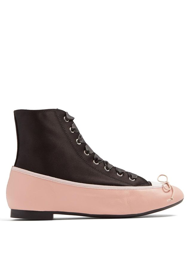 Ballet high-top satin and leather trainers