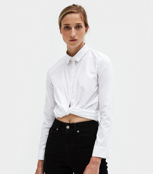 Tie Front Top in White