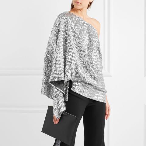 Kara One Shoulder Sequined Stretch-Knit Top