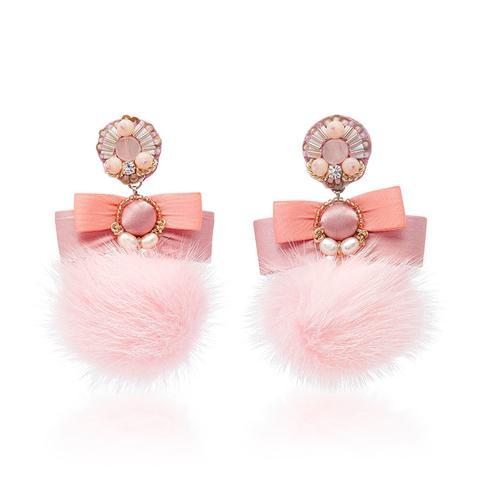 Pale Pink Fur Pom Earrings
