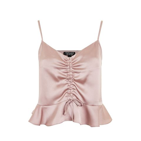 Satin Ruched Camisole Top