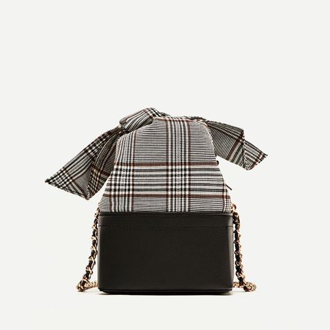 Crossbody Bag With Checked Bow