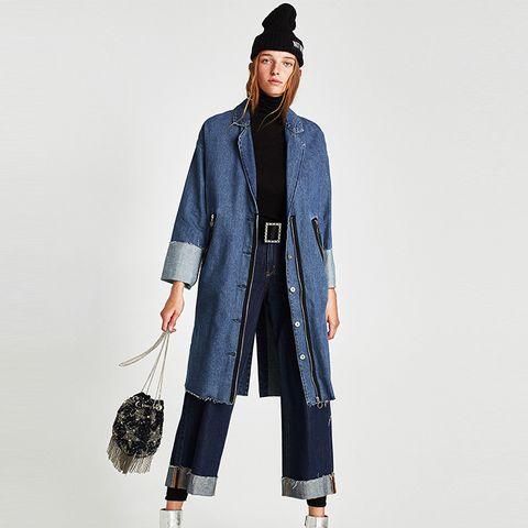 Denim Coat With Zips