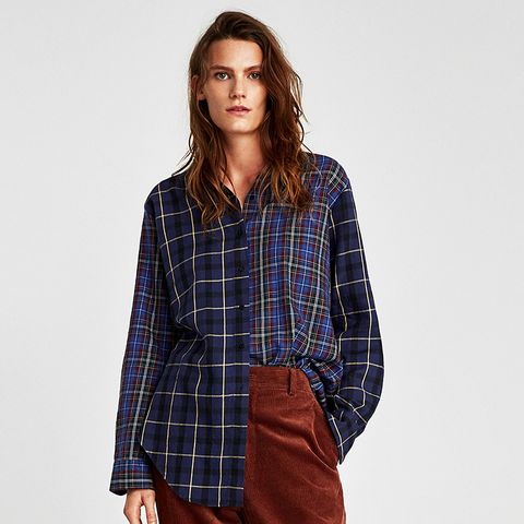 Oversize Patchwork Check Shirt