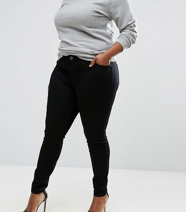 ASOS CURVE LISBON Mid Rise Skinny Jeans In Clean Black