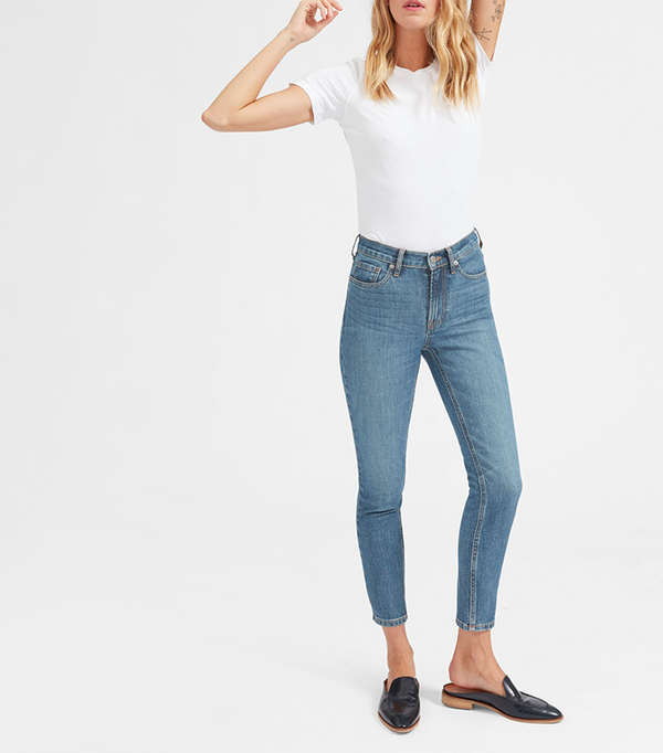 Women's High-Rise Skinny Jean (Ankle) by Everlane in Mid Blue, Size 32