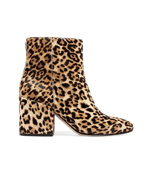 Taye Leopard-print Calf Hair Ankle Boots