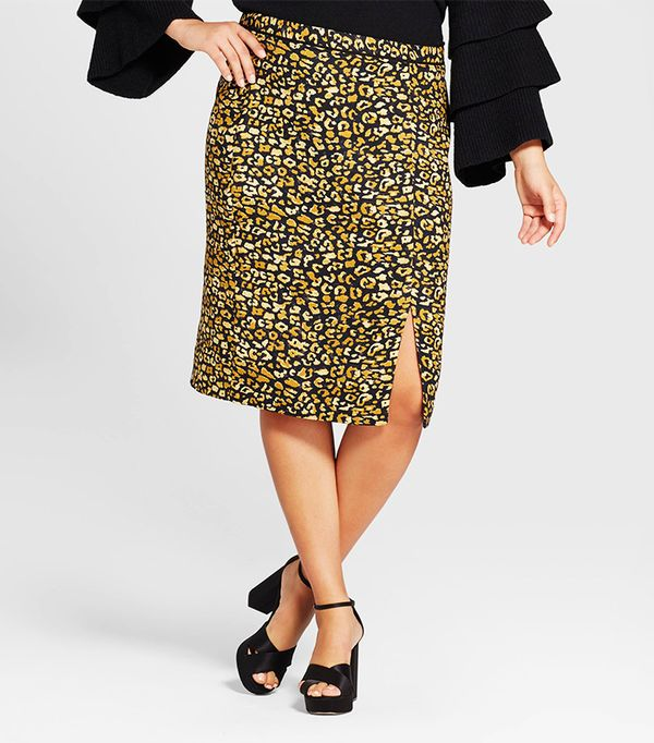 Plus Size Print Mix Pencil Skirt