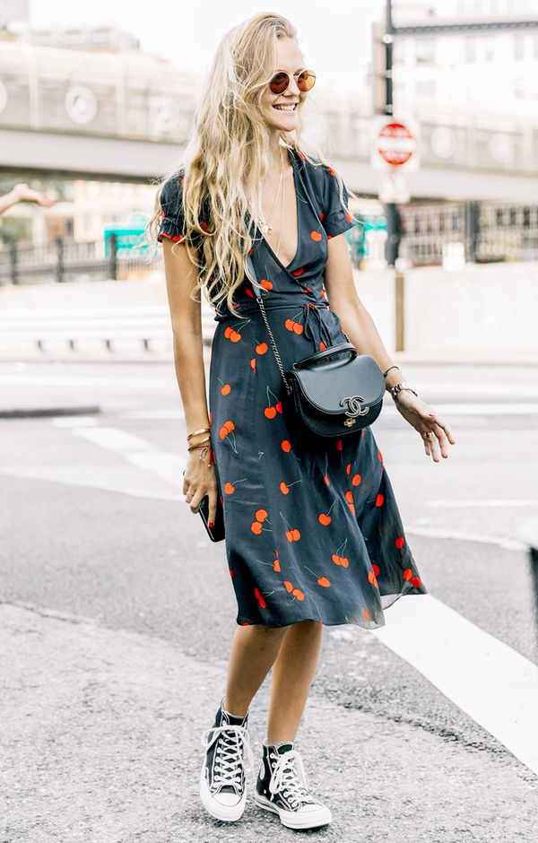 wrap dress sneakers outfit