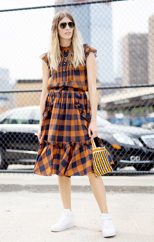 plaid dress sneakers outfit