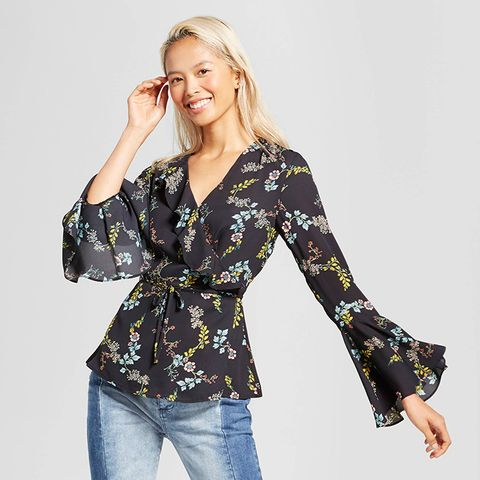 Long Sleeve Ruffle Wrap Top