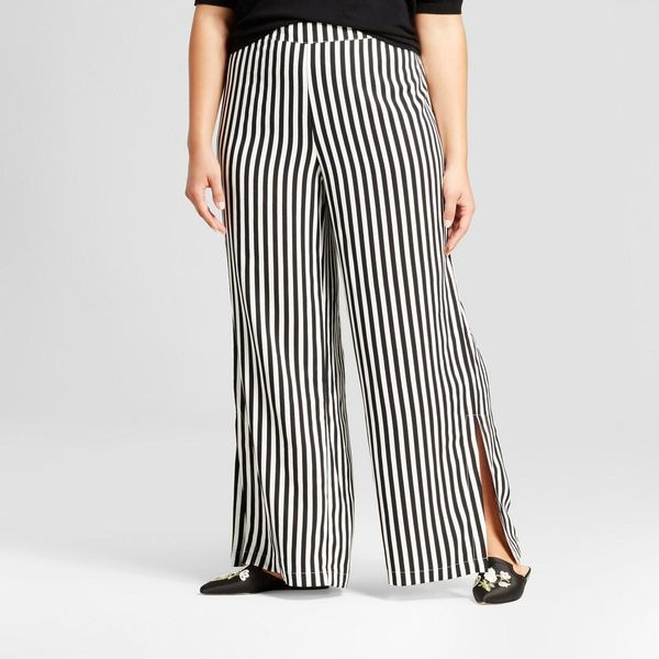 Plus Size Side Slit Wide Leg Pants
