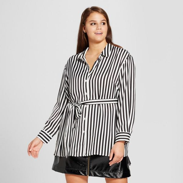 Plus Size Split Long Sleeve Tunic Shirt