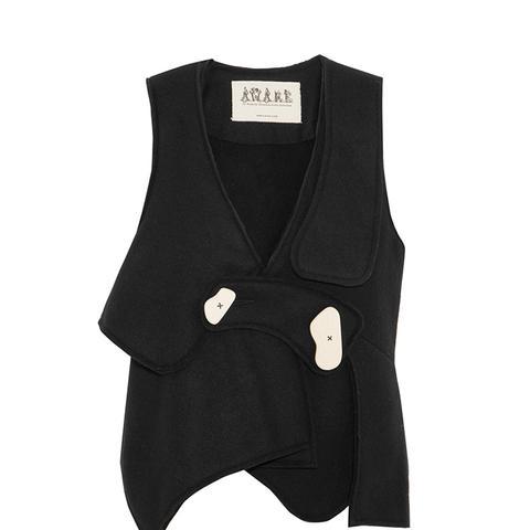 Asymmetric Bonded Wool-Blend Felt Vest