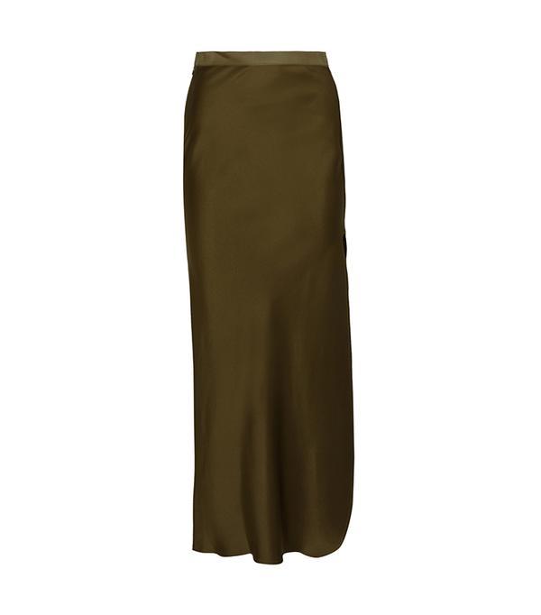 Maya Silk-satin Maxi Skirt