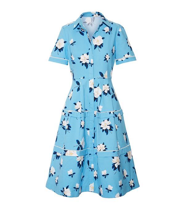 Crochet-trimmed Floral-print Cotton-piqué Dress