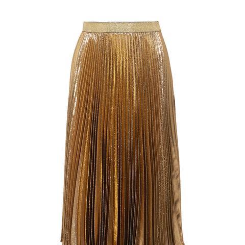 Pleated Silk-Blend Lamé Midi Skirt