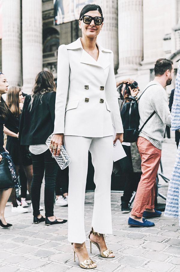 Few looks are chicer than a tailored pantsuit in head-to-toe white.