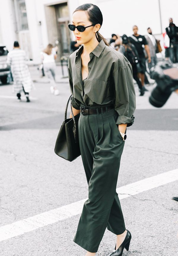 More relaxed fits can be just as sophisticated. Go tonal and belt at the waist to make the look more refined.