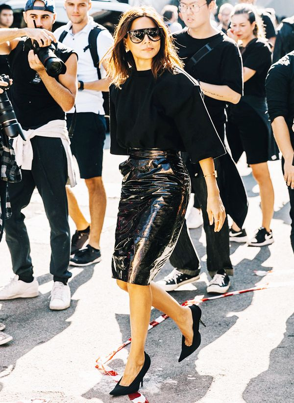 Want to instantly infuse your look with amplified attitude? Replace your work skirt for a leather skirt with a similar silhouette, and you're party-ready.