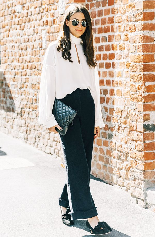 When in doubt, an airy silk blouse paired with slacks and heels is a failsafe ensemble.