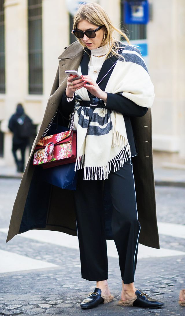 how to wear a blanket scarf: Camille Charrière