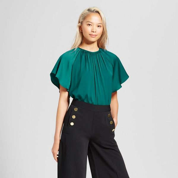 Short Flutter Sleeve Blouse