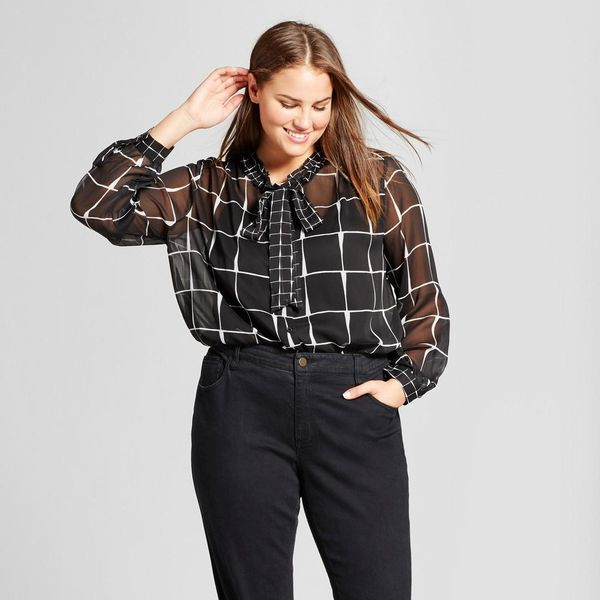 Plus Size Drapey Tie Neck Blouse