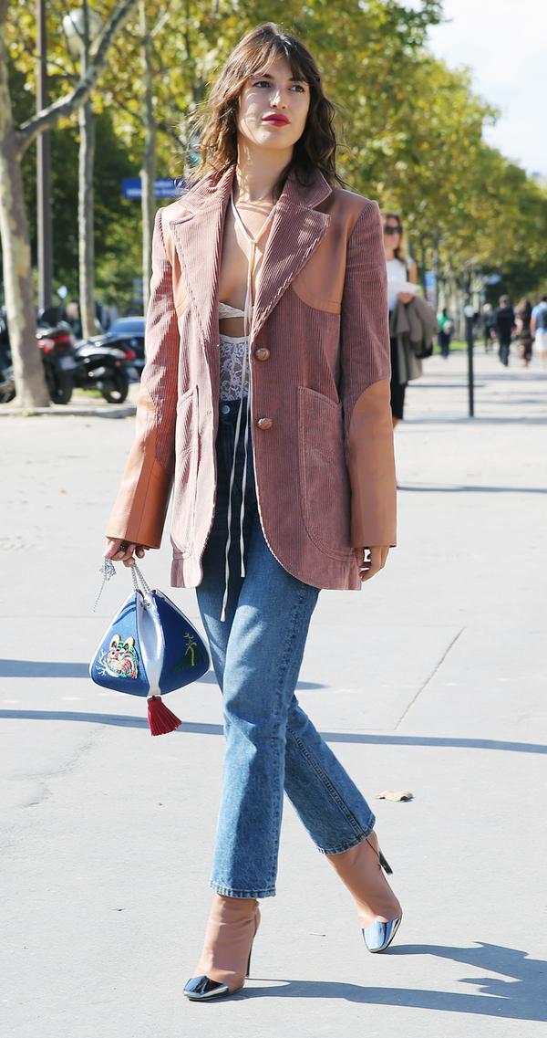 parisian style: jeanne damas carrying the volon cindy handbag