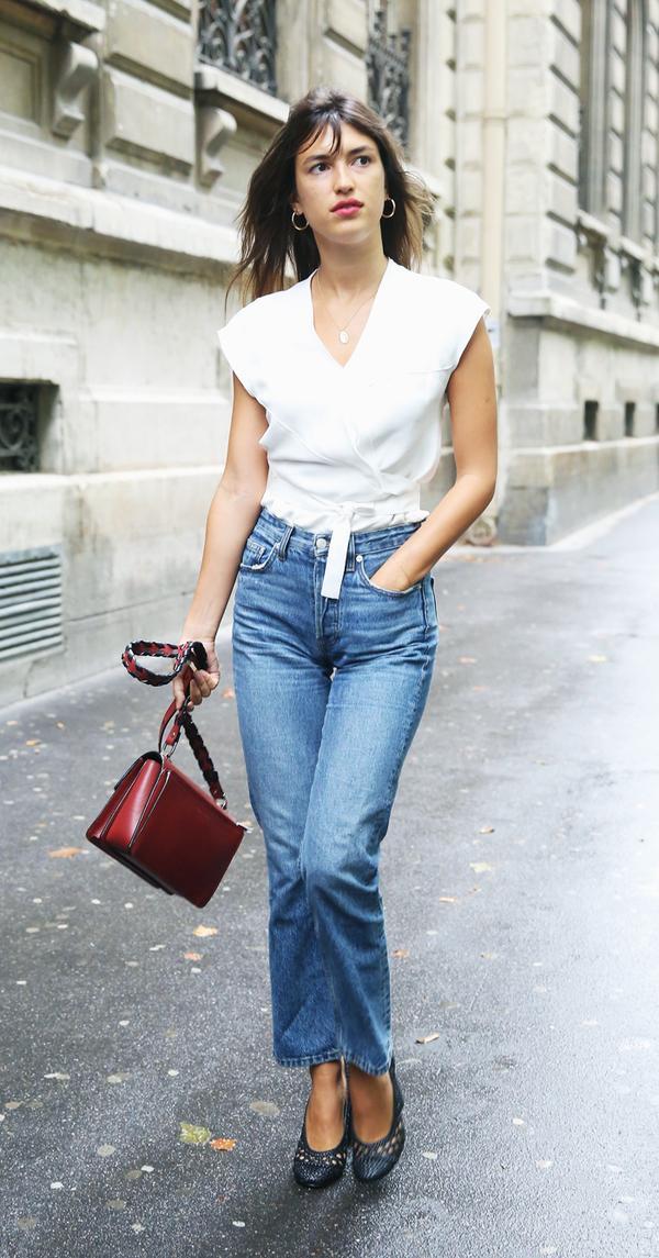 parisian style: jeanne damas wearing blue jeans