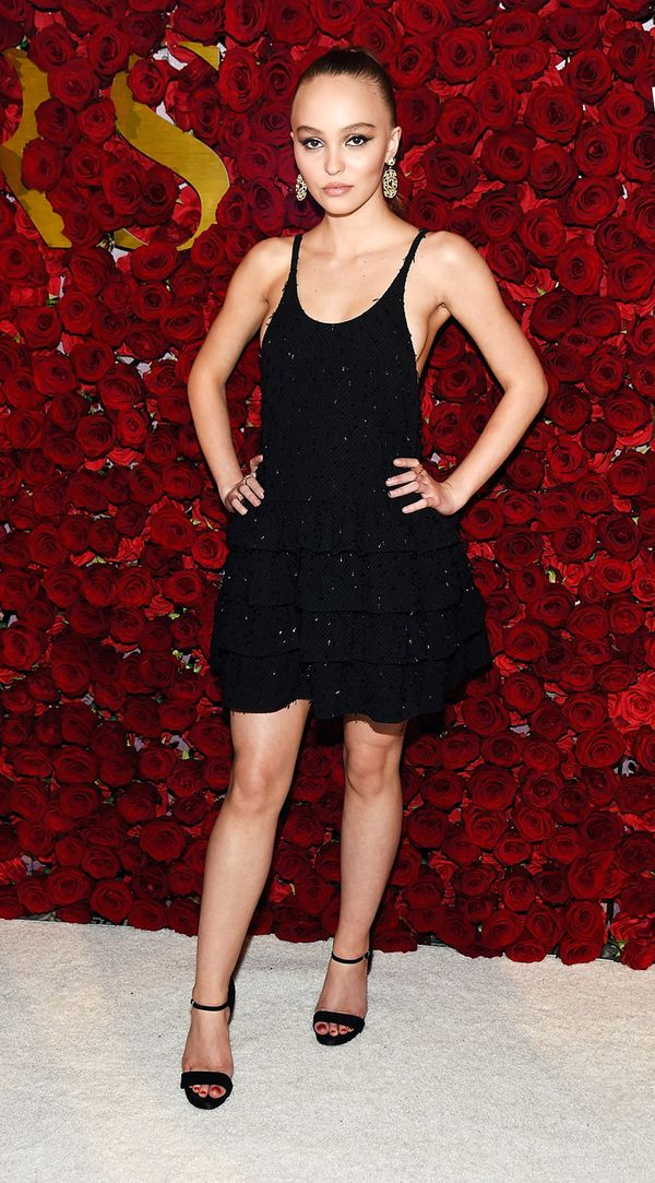 parisian style: Lily Rose Depp wearing black dress