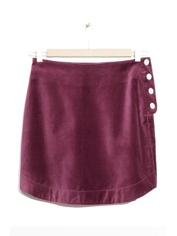 & Other Stories Velvet Mini Skirt