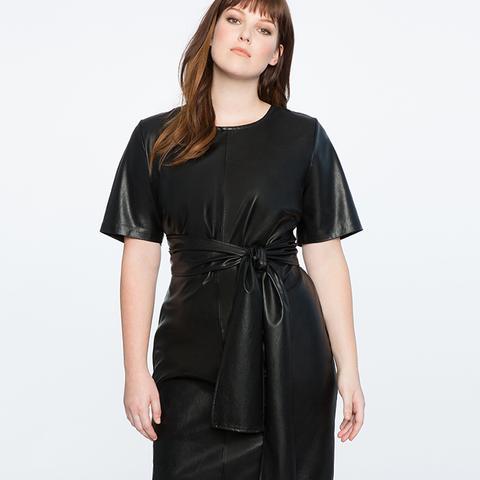 Studio Tie-Waist Faux-Leather Dress