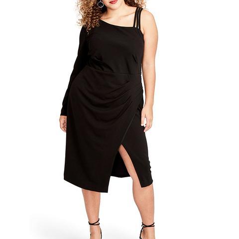 Asymmetrical Faux Wrap Dress